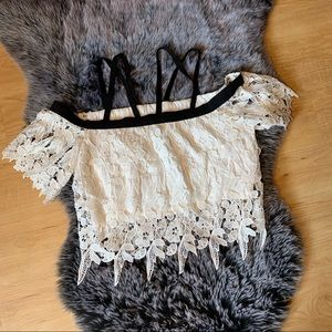 Forever 21 lace crop top with cross cross straps